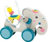 Trekfiguur / trekdier hout  + kralenspiraal - Olifant - Houten speelgoed vanaf 1 jaar