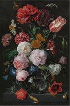 Stilleven met bloemen in een glazen vaas | Jan Davidsz. de Heem | Canvasdoek | Wanddecoratie | 100CM x 150CM | Schilderij