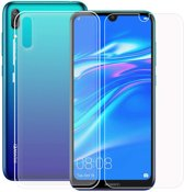 Huawei Y7 2019 Hoesje Transparant TPU Siliconen Soft Case + Tempered Glass Screenprotector