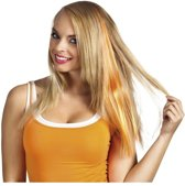 Oranje hair extensions clip-in voor dames - Koningsdag/Oranje supporter haar decoratie