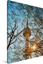 Namsan N Tower met zonnestralen door de bomen in Seoul Canvas 20x30 cm - klein - Foto print op Canvas schilderij (Wanddecoratie woonkamer / slaapkamer)