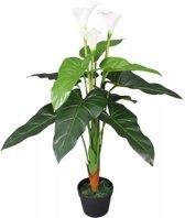 Kunst calla lelie plant met pot 85 cm wit (incl. Fotolijst)