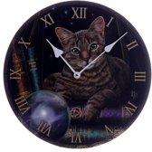 Lisa Parker Fortune Teller kat - Klok - Rond - MDF - Ø30 cm - Zwart/bruin/Grijs