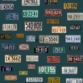ESTAhome behang XXL vintage license plates petrolblauw - 158502