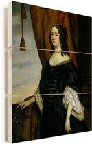 Portret van Amalia van Solms - Schilderij van Gerard van Honthorst Vurenhout met planken 60x80 cm - Foto print op Hout (Wanddecoratie)