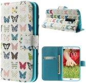 LG Optimus G2 Wallet Stand Case Butterflies
