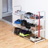 relaxdays schoenenrek metaal, 2-4 planken, robuust, schoenenkast 90 cm breed 3