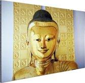 FotoCadeau.nl - Gouden Boeddha beeld Aluminium 120x80 cm - Foto print op Aluminium (metaal wanddecoratie)