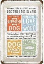 Dog Rules Metalen wandbord in reliëf 20 x 30 cm.
