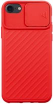 Teleplus iPhone 8 Case Luxury Camera Protected Covering Silicone Red hoesje