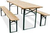 Biertafel en banken 220 x 70 Standaard   Kleur onderstel: Groen   Biertafelset   Blank