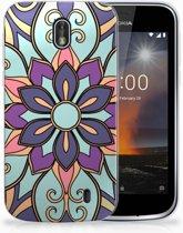Nokia 1 TPU Hoesje Design Purple Flower