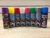 Haarspray Hairspray Haarverf | 8 x Spuitbus | Paars Geel Rood Wit Roze Groen Zilver en Blacklight