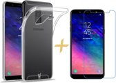 Samsung Galaxy A6 (2018) Hoesje Transparant TPU Siliconen Soft Gel Case + Tempered Glass Screenprotector - van iCall
