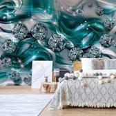Fotobehang Luxury Ornamental Design Diamonds Turquoise | V4 - 254cm x 184cm | 130gr/m2 Vlies