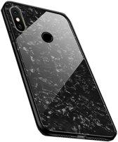 Teleplus Xiaomi Mi A2 Lite Marbel Patterned Glass Silicone Case Black hoesje