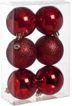 Cosy&Trendy Kerstballen Ø 8 cm - Bordeaux assorti - Set-6
