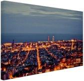 Barcelona skyline in de avond Canvas 60x40 cm - Foto print op Canvas schilderij (Wanddecoratie woonkamer / slaapkamer) / Steden Canvas Schilderijen