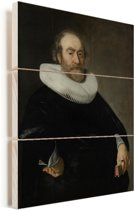 Portret van Andries Bicker - Schilderij van Bartholomeus van der Helst Vurenhout met planken 30x40 cm - klein - Foto print op Hout (Wanddecoratie)