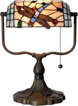 Tiffany Bankierslamp Libelle - Bureaulamp - 35 x Ø 27 cm - Multicolor