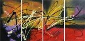 Schilderij 4 luik modern abstract 120x60 Artello - Handgeschilderd