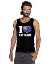 Zwart I love Australie supporter singlet shirt/ tanktop heren - Australisch shirt heren XL