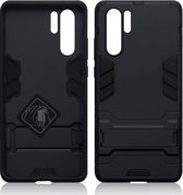 Qubits - Double Armor Layer hoes met stand - Huawei P30 Pro - Zwart