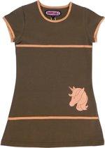 Happy Nr. 1-meisjes-jurk, kleed-Unicorn-Paard-Eenhoorn-kleur: kaki, goud-maat 128