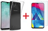 Ntech Samsung Galaxy A10 Hoesje Transparant TPU Siliconen Soft Case + Tempered Glass Screenprotector