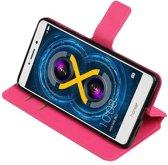 Honor 6 X Roze   Cross Pattern TPU bookstyle / book case/ wallet case    WN™