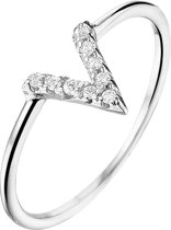 The Fashion Jewelry Collection Ring V Zirkonia - Zilver Gerhodineerd