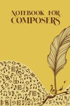 Notebook for Composers: Sheet music book DIN-A5 with 100 pages of empty staves for composers and music students to note music and melodies