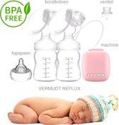 Dubbele Elektrische Borstkolf Kolfapparaat BPA-Vermijd REFLUX-Roze 150 ml Kolf - Borstvoeding geven zonder pomp – Moedermelk- Dubbele Afkolfset-Babyvoeding