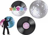Muur decoratie disco set van 4 st.