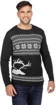 Donkergrijze kerst trui met rendier voor heren 52 (L)