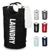 Laundry design wasmand - Waszak - Zwart - Duurzaam polyester - Lichtgewicht - Opvouwbaar - 71l