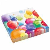 Feest servetten met ballonnen opdruk papier 33cm 20st - wegwerpservetten