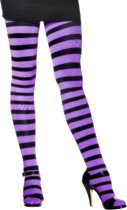 Panty striped paars/zwart one size