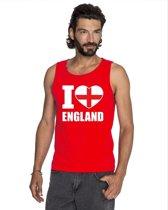 Rood I love Engeland supporter singlet shirt/ tanktop heren - Engels shirt heren XL