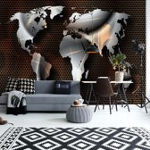 Fotobehang Modern Metal World Map | VEL - 152.5cm x 104cm | 130gr/m2 Vlies