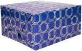 Inpakpapier donkerblauw met patroon - 200 x 70 cm - kadopapier / cadeaupapier