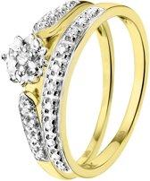 Lucardi 14 Karaat Geelgouden Dubbele Ring - Met Diamant - Maat 55
