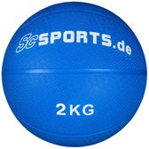 ScSPORTS - Medicijnbal - Medicine Ball - Rubber - 2 kg - Blauw - Ø ca. 19 cm