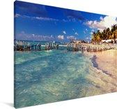Oude pier bij het Noord-Amerikaanse Isla Mujeres op een zonnige dag Canvas 140x90 cm - Foto print op Canvas schilderij (Wanddecoratie woonkamer / slaapkamer)
