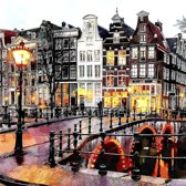 Brug over de Keizersgracht, gracht in Amsterdam, Nederland in olieverf look | stad, abstract, modern, sfeer | Foto schilderij print op Canvas (canvas wanddecoratie) | KIES JE MAAT