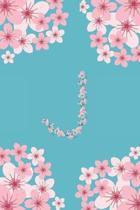 J Monogram Letter J Cherry Blossoms Journal Notebook