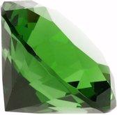 Groene nep diamant 5 cm van glas