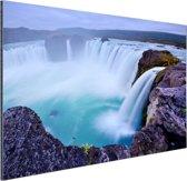 Een grote ronde waterval in IJsland Aluminium 60x40 cm - Foto print op Aluminium (metaal wanddecoratie)