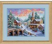 borduurpakket 8783 dorp in kerst/wintersfeer