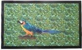 Deurmat met Papegaai & blad motief - Multicolor - 75 x 45 cm - Schoonloopmat